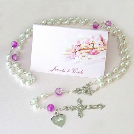 Personalised Rosaries in Pink and White, Any Engraving